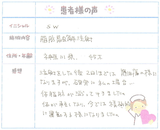 11. 部分やせ 神奈川県 45才女性 S.W様