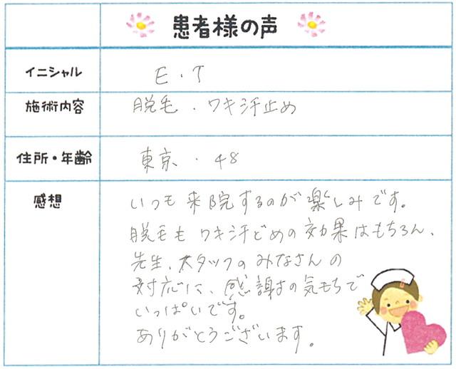 28. わき汗・脱毛(ボディ) 東京都 48才女性 E.T様