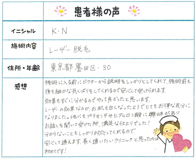 49. 脱毛(ボディ) 東京都 墨田区 30才女性 K.N様