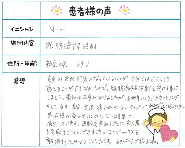 53. 小顔 神奈川県 29才女性 N.H様