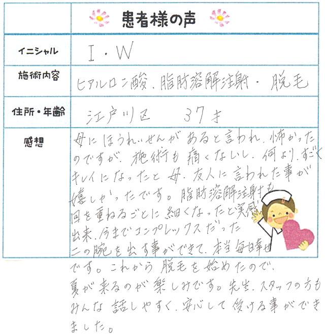 92. 脱毛(ボディ) 東京都 江戸川区 37才女性 I.W様
