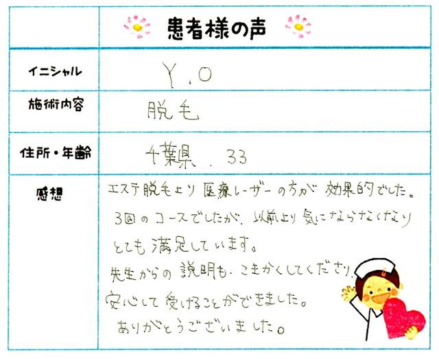159. 脱毛(ボディ) 千葉県 33才女性 Y.O様