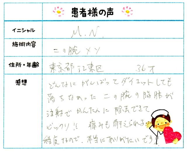 165. 部分やせ 東京都 江東区 36才女性 M.N様