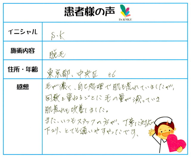 201. 脱毛(ボディ) 東京都 中央区 36才女性 S.K様
