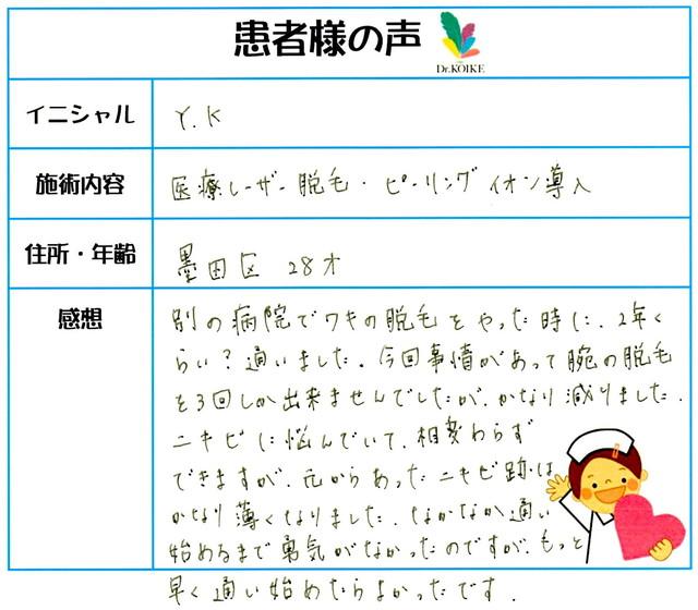 232. ニキビ・肌質改善・脱毛(ボディ) 墨田区 28才 Y.K様