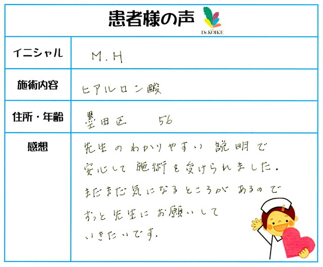 243. シワ・たるみ 東京都 墨田区 56才女性 M.H様