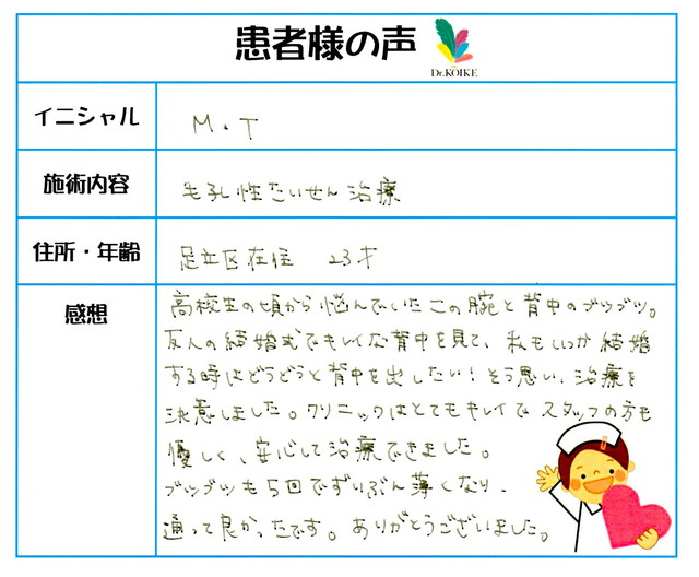 267. 毛孔性苔癬 東京都 足立区 23才女性 M.T様
