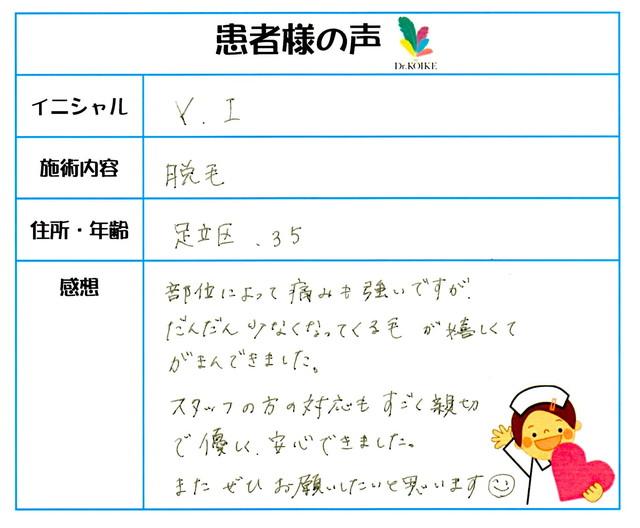 274. 脱毛(ボディ) 東京都 足立区 35才女性 Y.I様