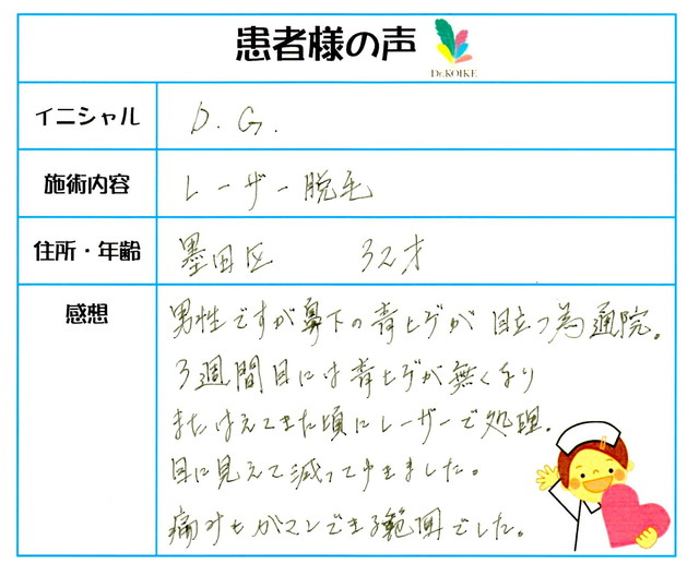 295. ヒゲ脱毛 東京都 墨田区 32才男性 D.G様
