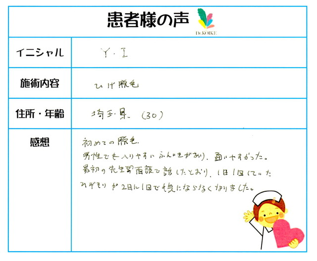 296. ヒゲ脱毛 埼玉県 30才男性 Y.I様