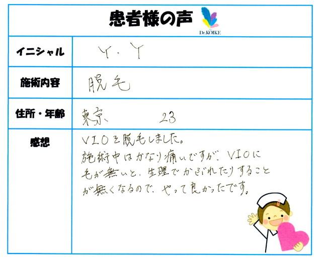 382. 脱毛(ボディ) 東京都 23才女性 Y.Y様
