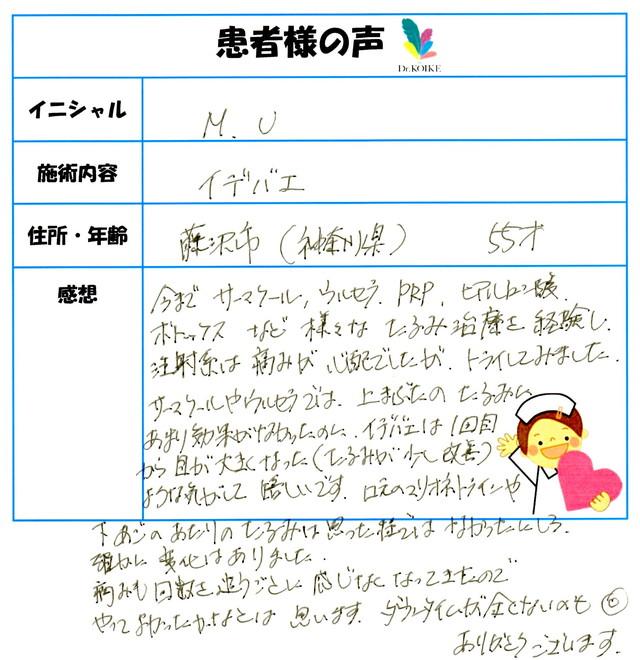408. サーマクール・シワ・たるみ・肌質改善 藤沢市(神奈川県) 55才 M.U様